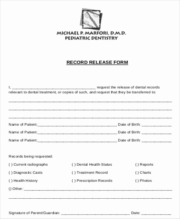 Medical Records forms Template Best Of 8 Sample Dental Records Release forms