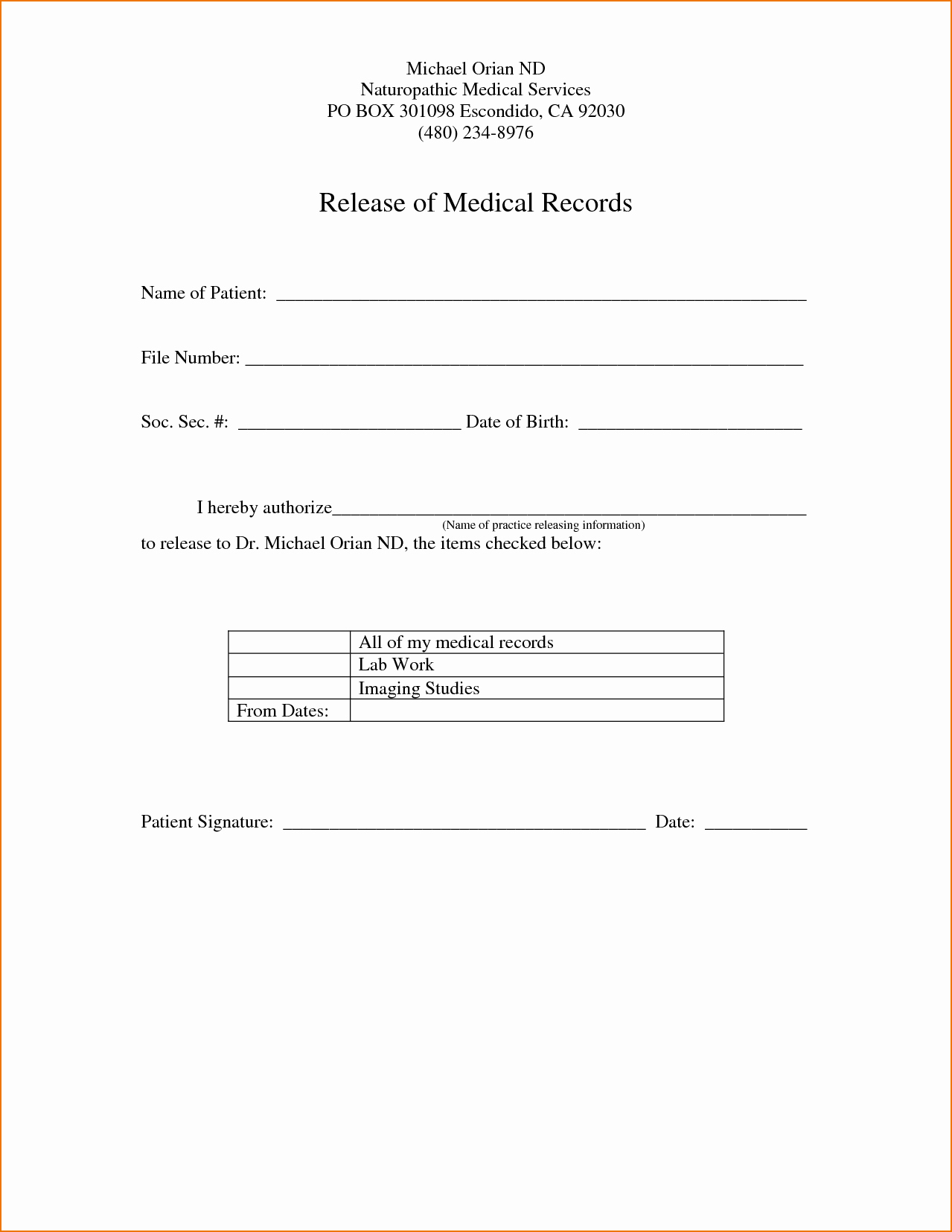 Medical Records forms Template Best Of Medical Record Release form Template