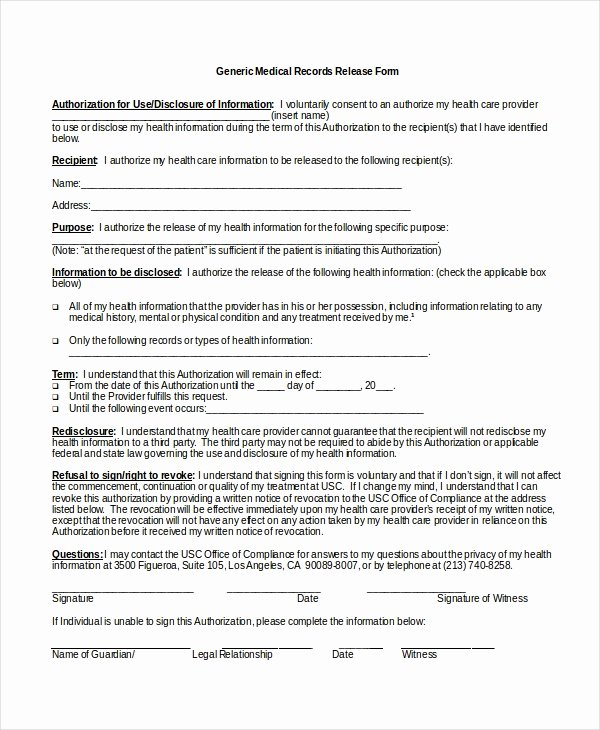 Medical Records forms Template Elegant 10 Medical Release forms Free Sample Example format