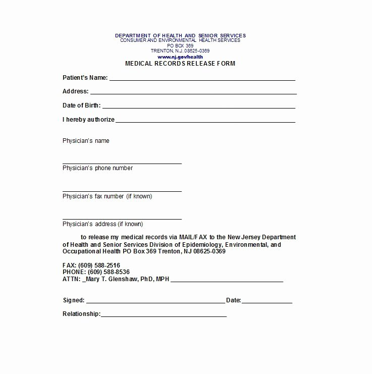 Medical Records forms Template Inspirational 30 Medical Release form Templates Template Lab