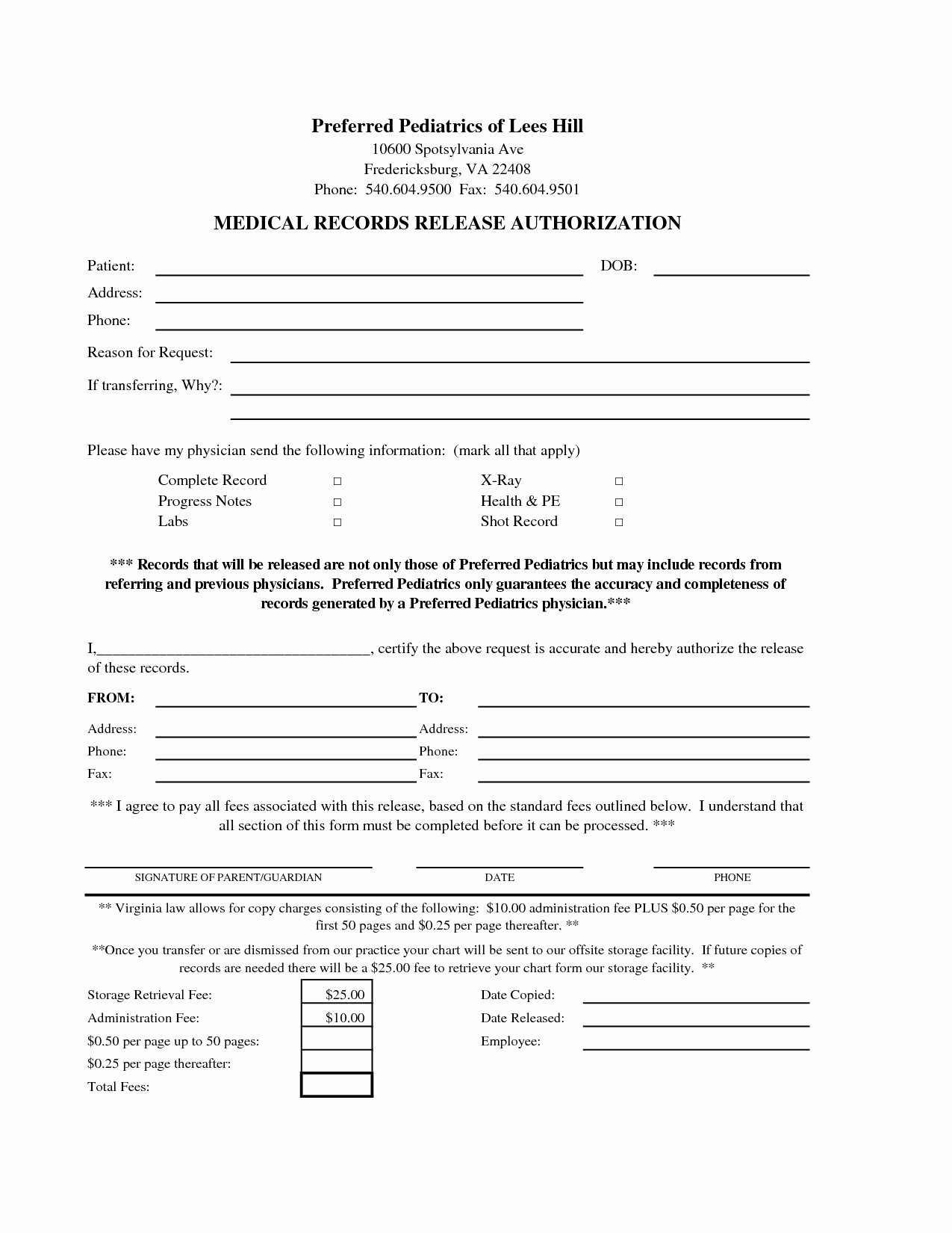 Medical Records forms Template Inspirational Medical Release Letter Template Examples