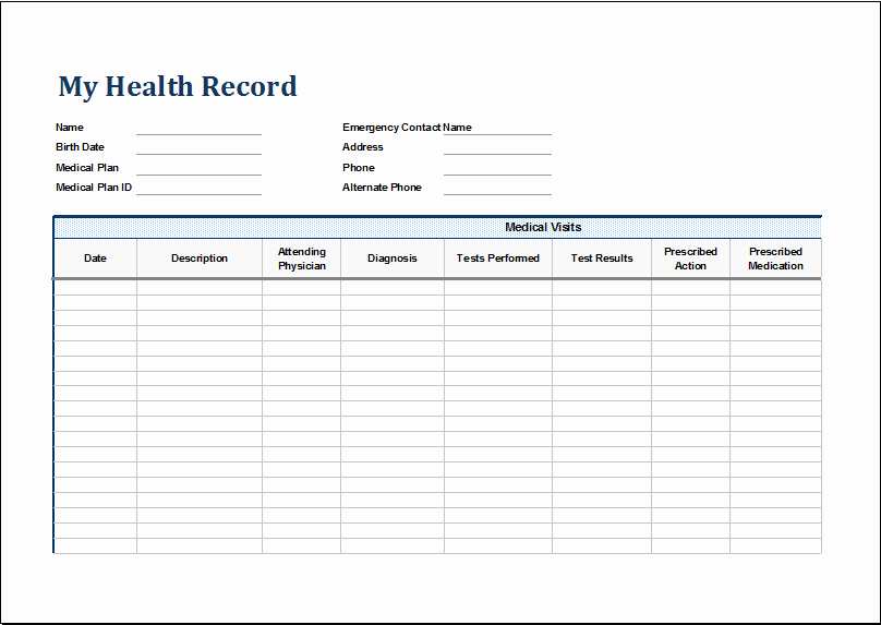 Medical Records forms Template Inspirational Personal Medical Health Record Sheet