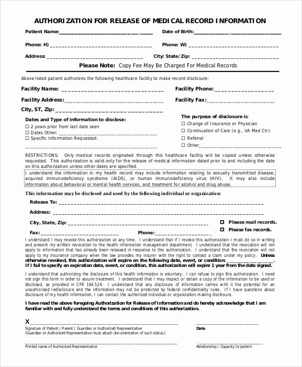 Medical Records forms Template Lovely 9 Sample Medical Records Release forms