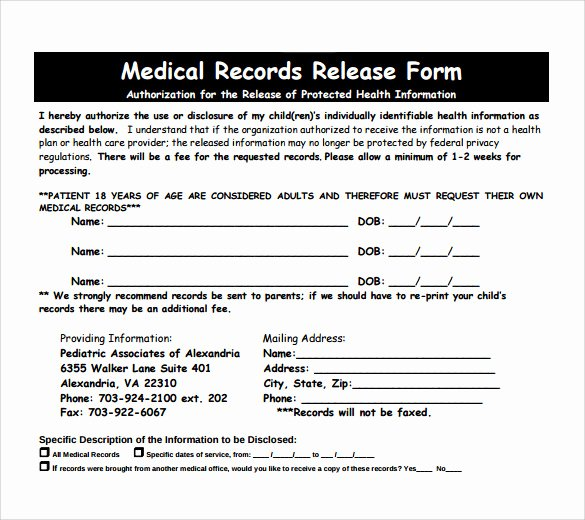 Medical Records Request form Template Elegant 11 Medical Records Release forms – Samples Examples