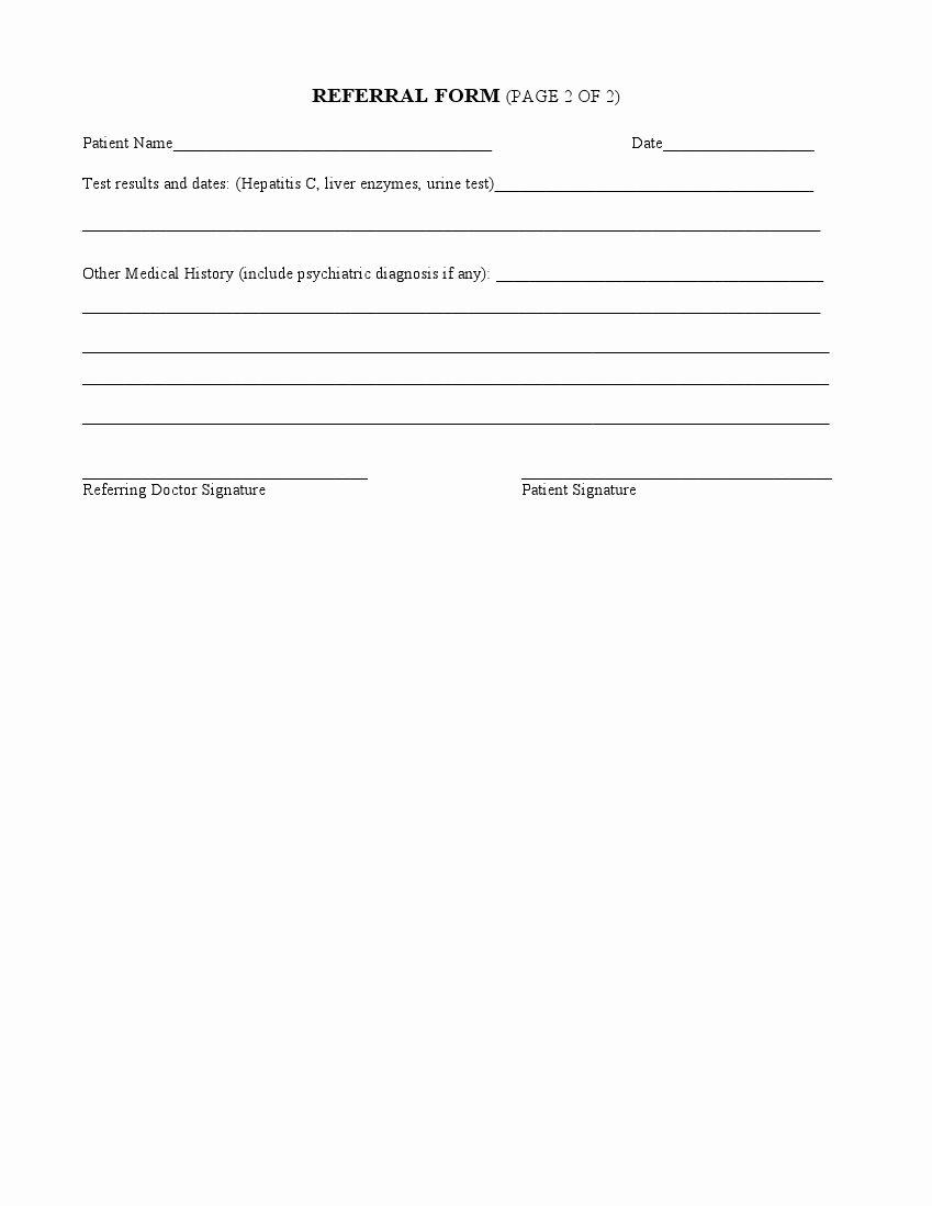 Medical Referral form Template Fresh form Medical Referral form
