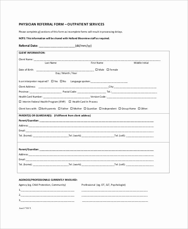 Medical Referral form Template Inspirational 10 Sample Referral forms