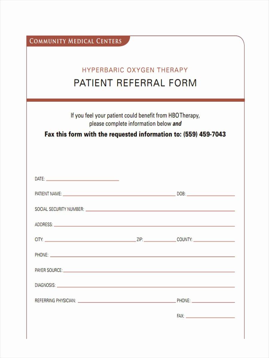 Medical Referral form Template Lovely 8 Medical Referral form Samples Free Sample Example
