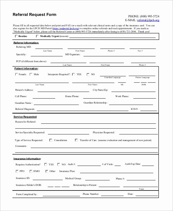 Medical Referral form Template Luxury 10 Sample Referral forms
