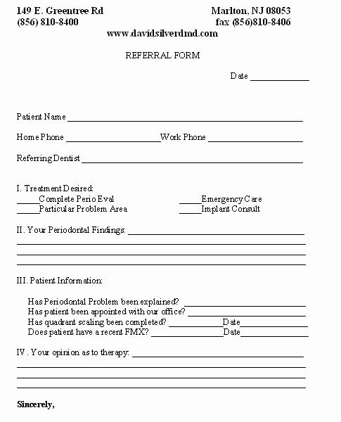 Medical Referral form Template Luxury Line Referral form Marlton Nj