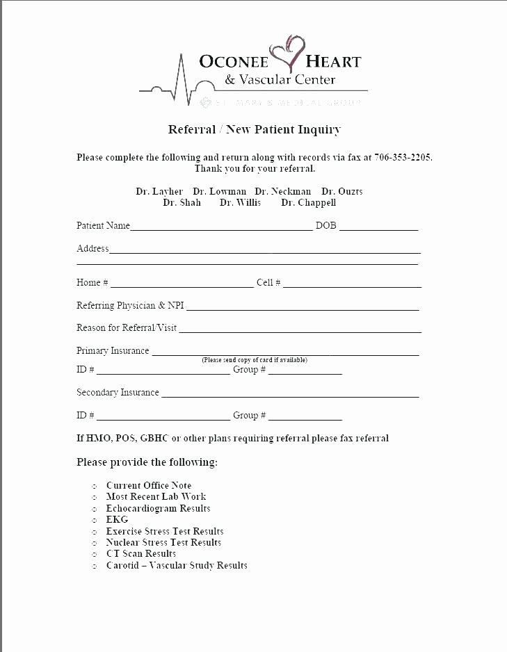 Medical Referral form Template New Patient Referral form Template Free Medical Referral form