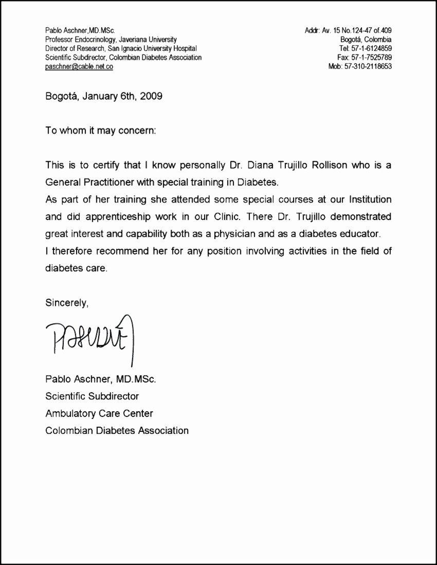 Medical Referral Letter Template Best Of Re Mendation Letter for Doctor Sample