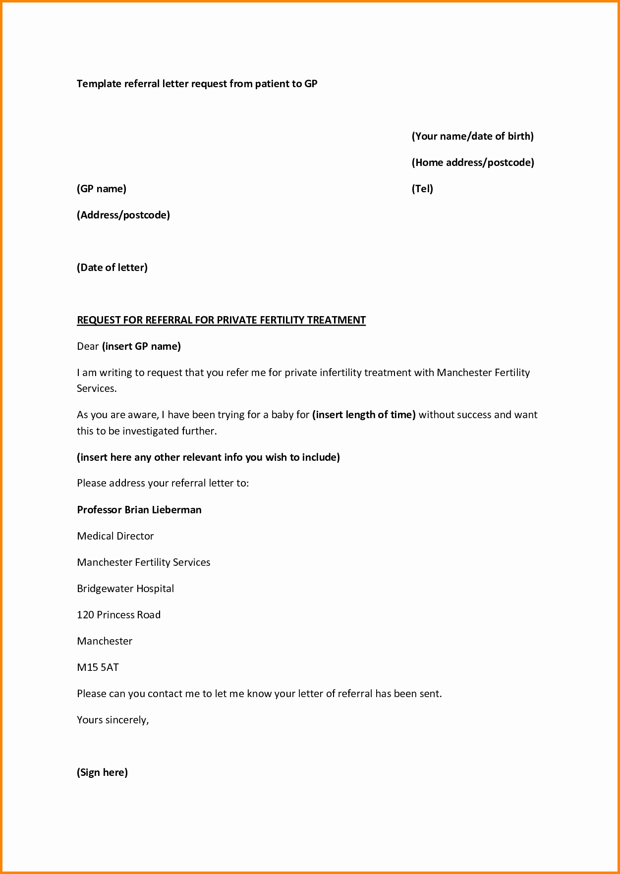 Medical Referral Letter Template Inspirational Medical Referral Letter Template Microsoft Word