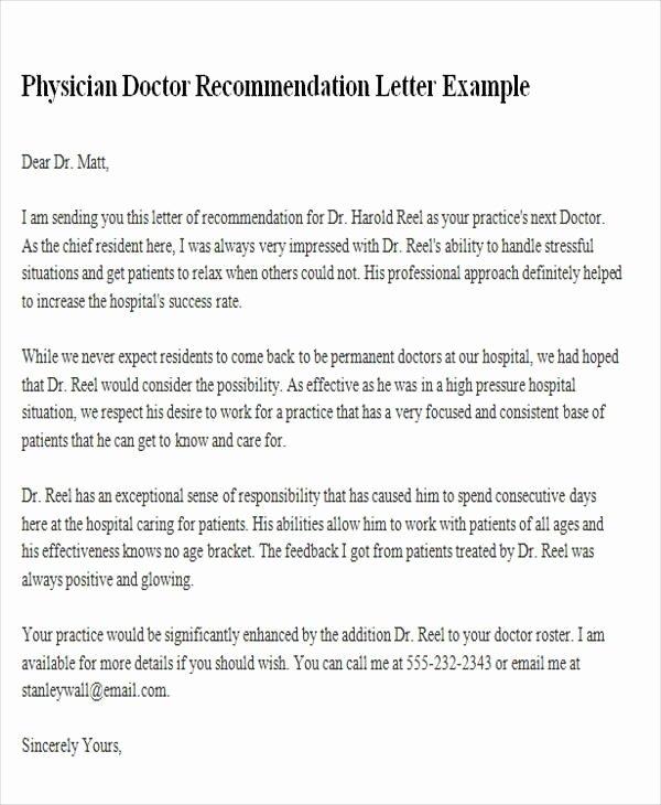 Medical Referral Letter Template New Letter Re Mendation Doctor