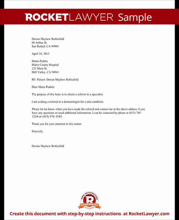 Medical Referral Letter Template New Letter to Request A Referral to Another Doctor Template