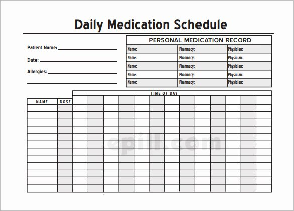 Medication Schedule Template Excel New Medication Schedule Template 14 Free Word Excel Pdf