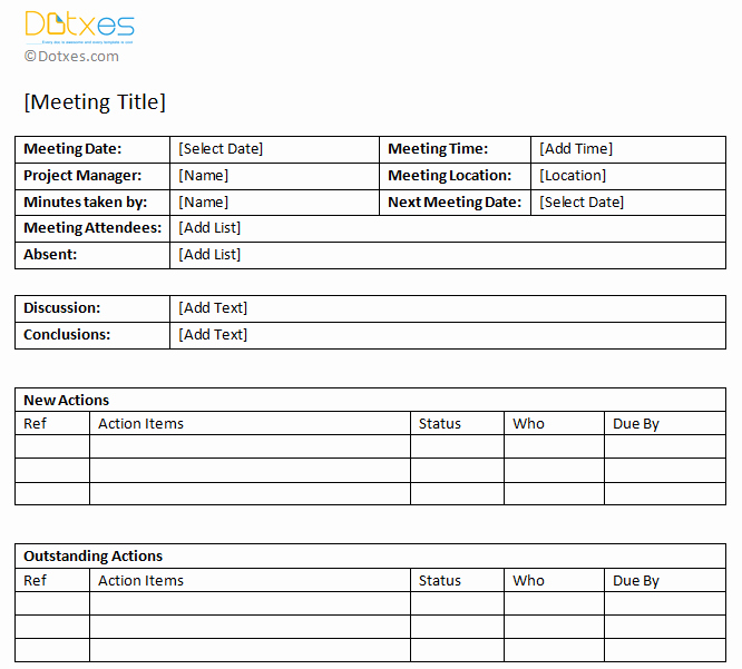 Meeting Action Items Template Best Of Minutes Of Meeting Sample with Action Item List Dotxes