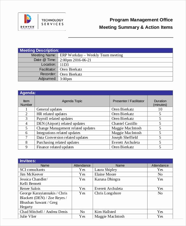 Meeting Action Items Template Elegant Action Agenda Templates 7 Free Word Pdf format Download