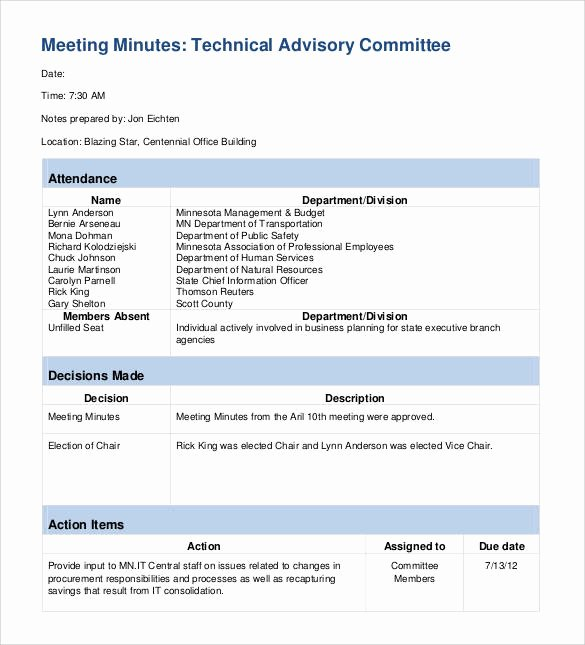 Meeting Action Items Template Fresh 42 Free Sample Meeting Minutes Templates