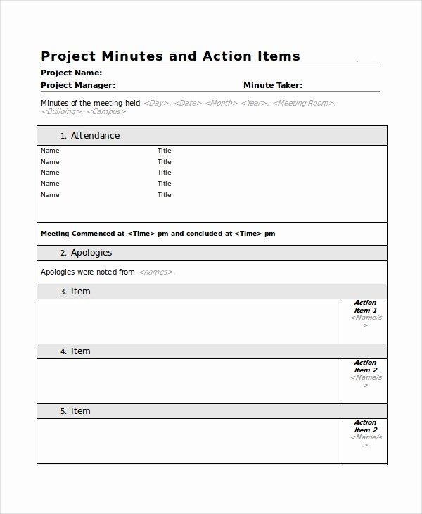 Meeting Action Items Template Lovely Meeting Minutes Template 10 Free Word Pdf Document