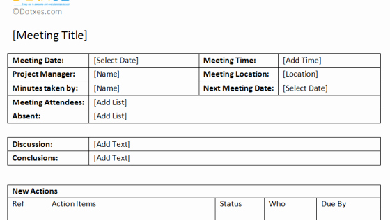 Meeting Action Items Template Lovely Meeting Minutes Template Detailed format Dotxes