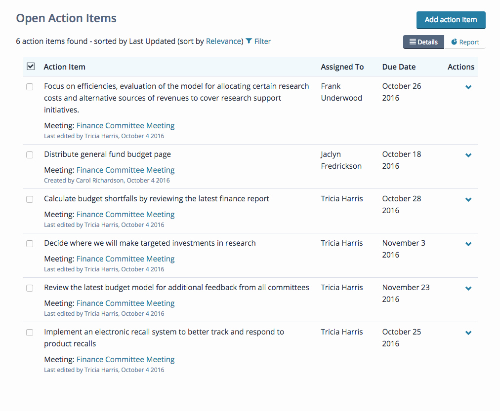 Meeting Action Items Template New Action Items