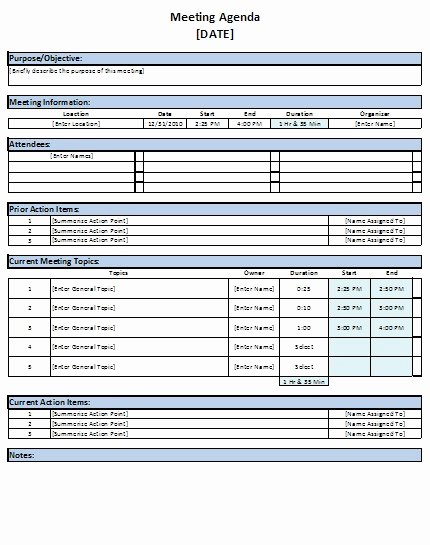 Meeting Action Items Template New Free Excel Meeting Agenda Template Download