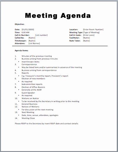 Meeting Agenda Template Word Free Beautiful 20 Meeting Agenda Templates Word Excel Pdf formats