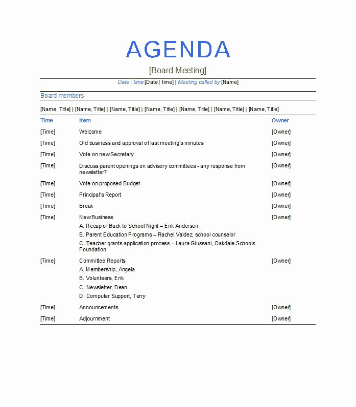 Meeting Agenda Template Word Free Beautiful 51 Effective Meeting Agenda Templates Free Template