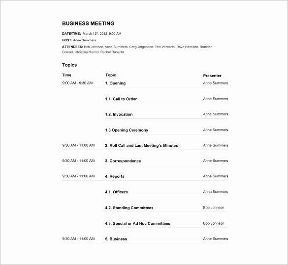 Meeting Agenda Template Word Free Beautiful Agenda Template – 24 Free Word Excel Pdf Documents