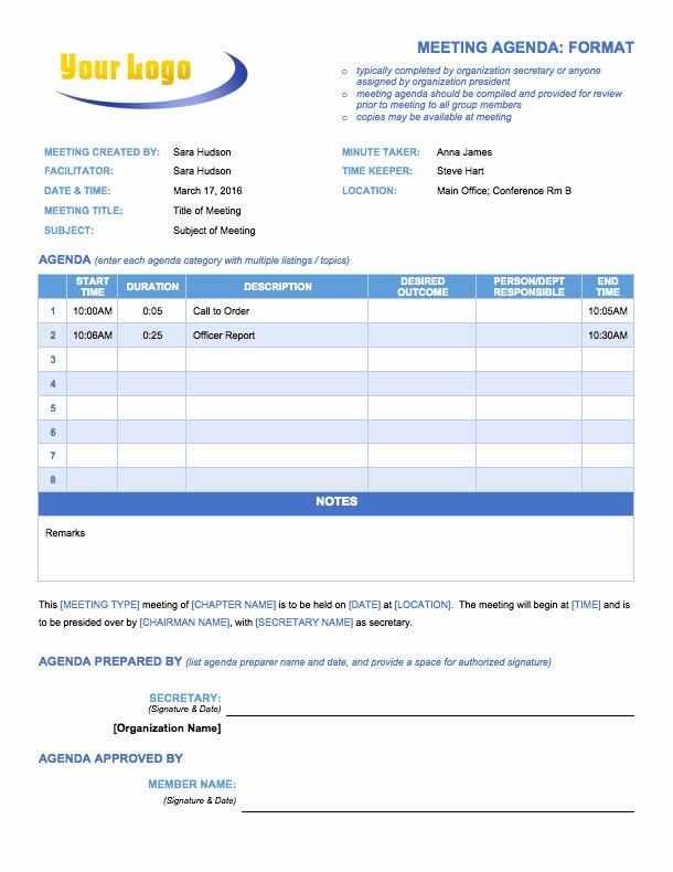 Meeting Agenda Template Word Free Best Of Free Meeting Agenda Templates Smartsheet