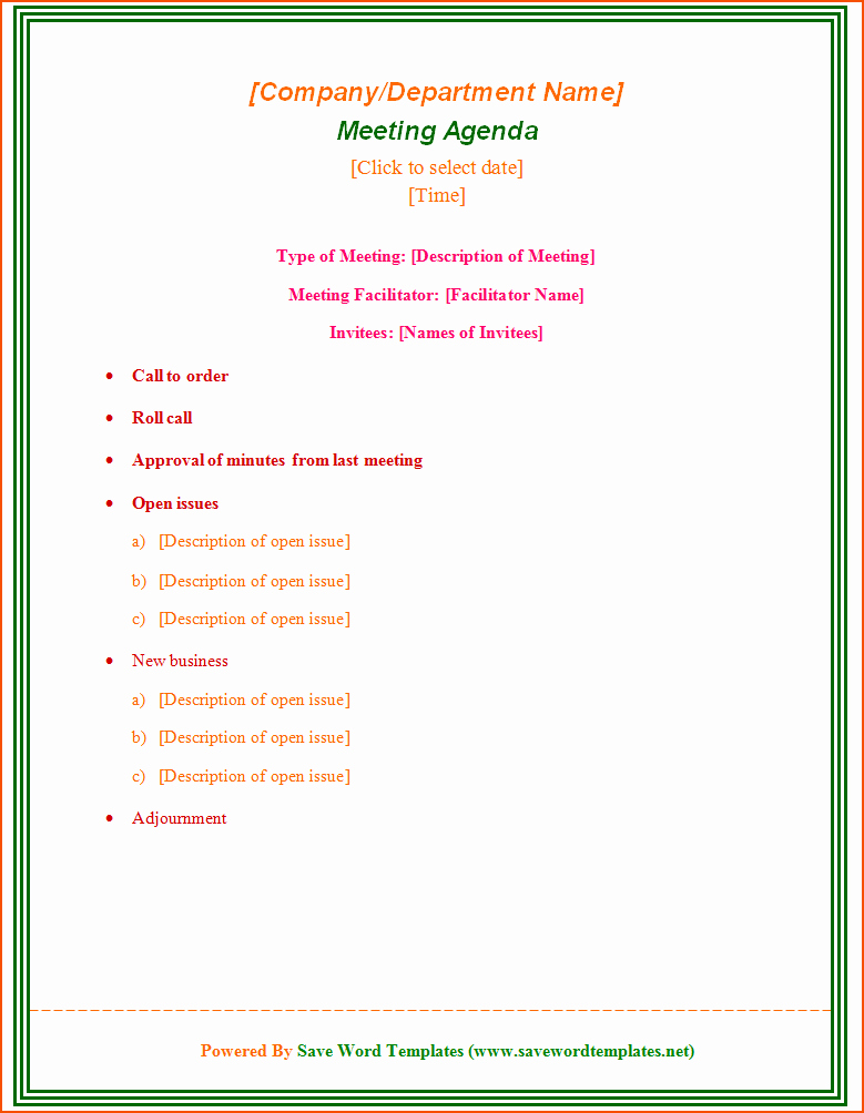 Meeting Agenda Template Word Free Fresh 6 Microsoft Agenda Template Bookletemplate