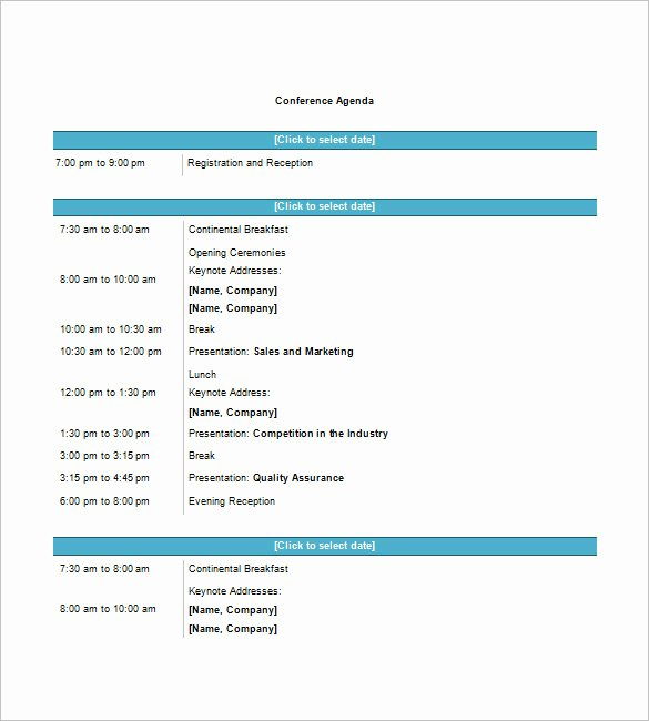 Meeting Agenda Template Word Free Inspirational 8 Conference Agenda Templates – Free Sample Example