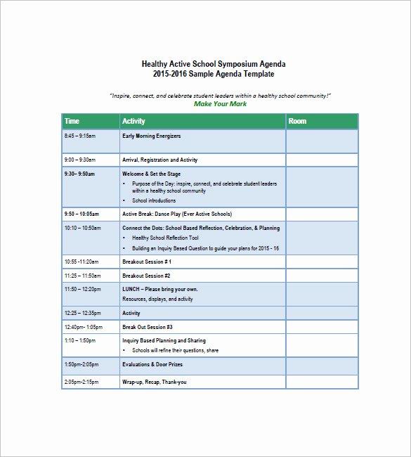 Meeting Agenda Template Word Free Inspirational 8 School Agenda Templates Free Sample Example format