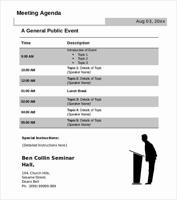 Meeting Agenda Template Word Free Lovely 50 Meeting Agenda Templates Pdf Doc