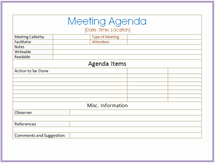 Meeting Agenda Template Word Free Lovely Basic Meeting Agenda Template formal & Informal Meetings