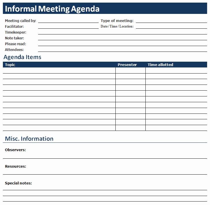 Meeting Agenda Template Word Free Lovely Ms Word Informal Meeting Agenda