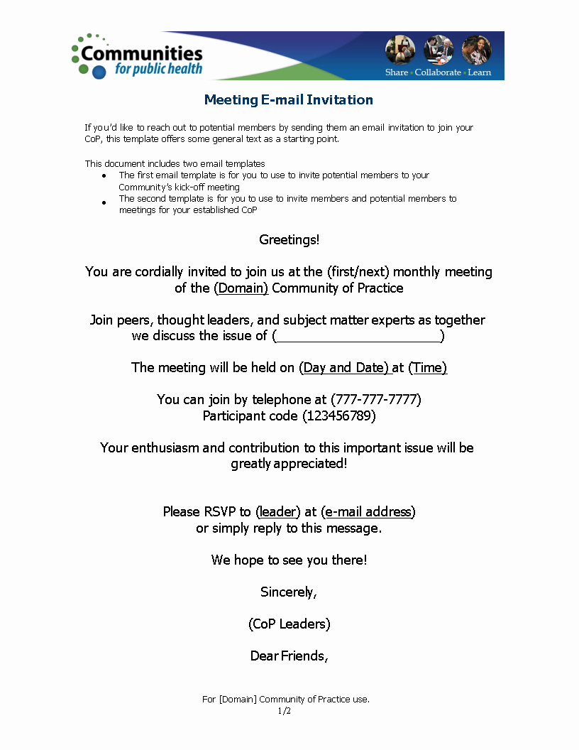 Meeting Invitation Email Template Inspirational Free Ficial Meeting Invitation Email