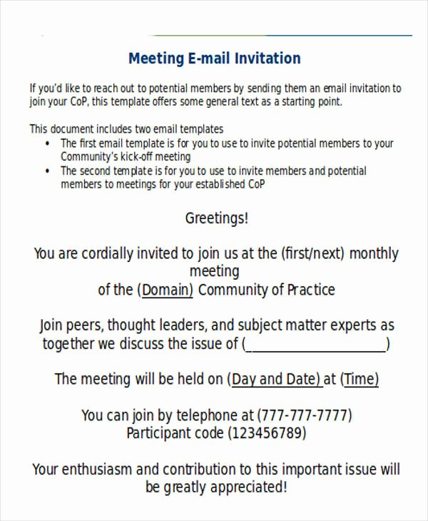 Meeting Invitation Email Template Luxury 9 Ficial Email Templates Free Psd Eps Ai format