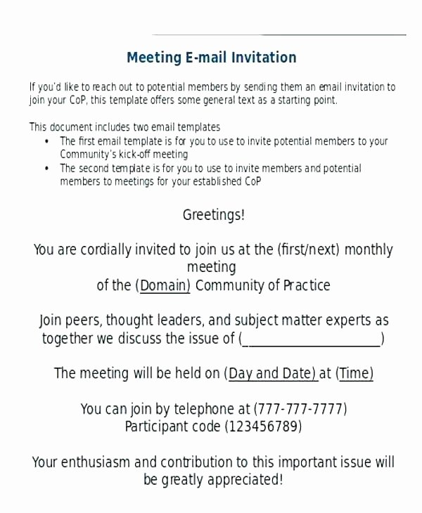 Meeting Invitation Email Template Luxury Meeting Invitation Email Template Sample 9 Ficial