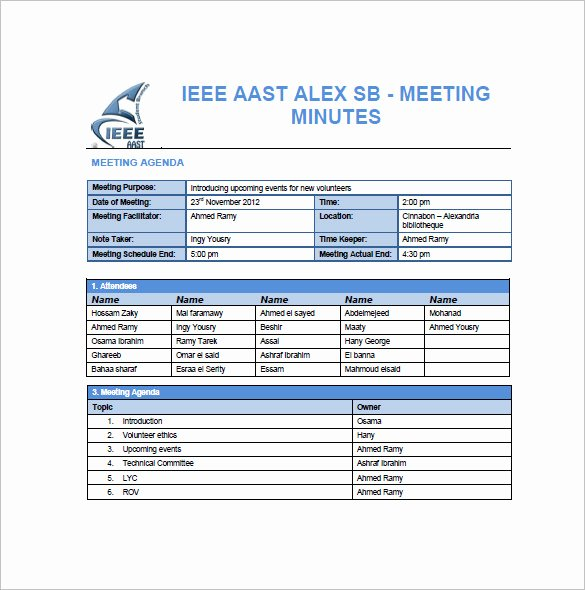 Meeting Minutes Template Excel Best Of 13 Project Meeting Minutes Templates Doc Pdf Excel