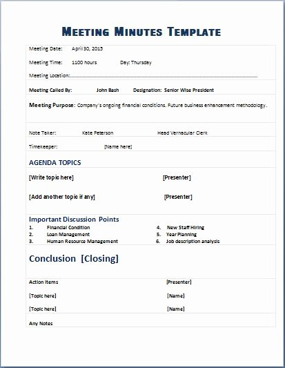 Meeting Minutes Template Excel Fresh formal Meeting Minutes Template