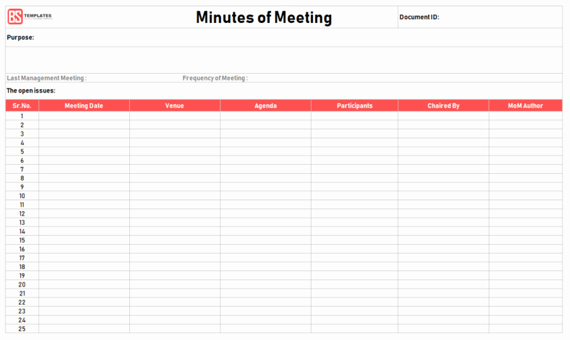 Meeting Minutes Template Excel Inspirational Minutes Of Meeting Template – 16 Excel Word
