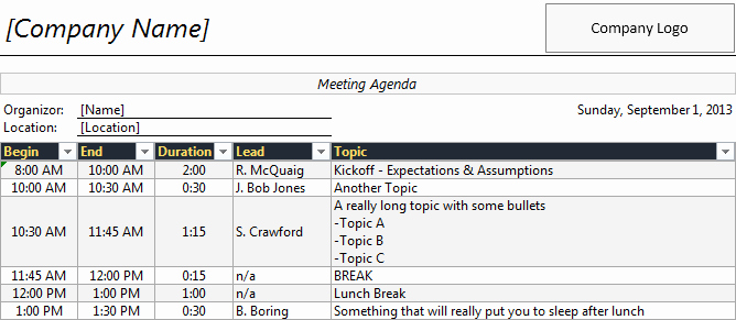 Meeting Minutes Template Excel Unique Meeting Planner Template Excel