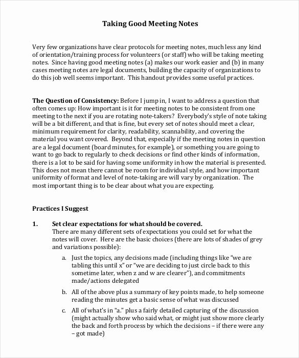 Meeting Note Template Word Best Of Meeting Notes Template 28 Free Word Pdf Documents