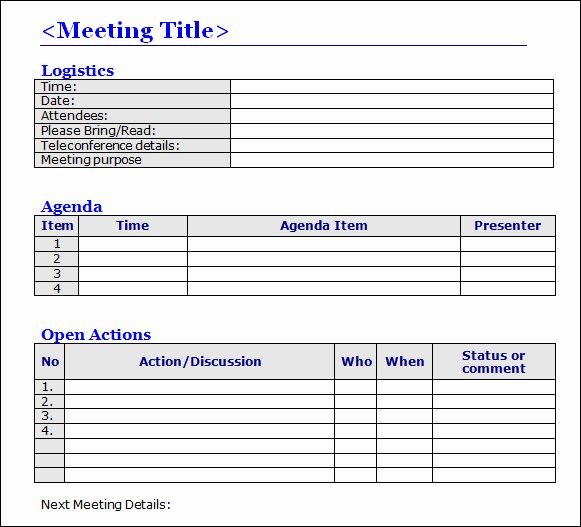 Meeting Note Template Word Fresh Construction Bid Template
