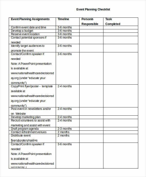 Meeting Planner Checklist Template Fresh event Planning Checklist 11 Free Word Pdf Documents