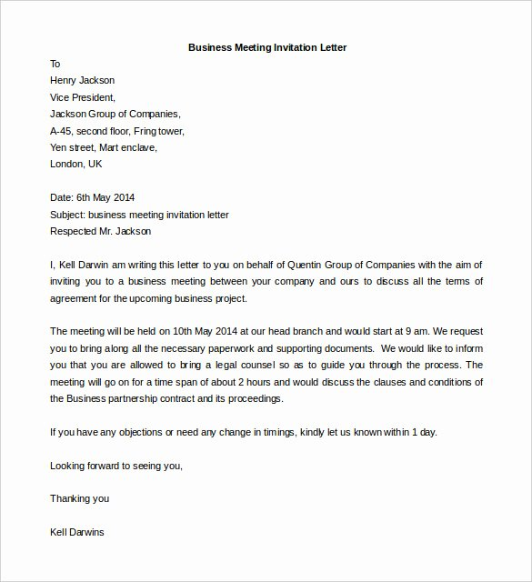 Meeting Request Email Template Fresh 50 Business Letter Templates Pdf Doc