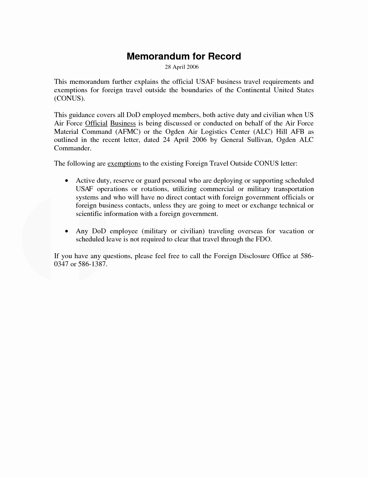 Memorandum Of Record Template Awesome 10 Best Of Memorandum for Record Example Army