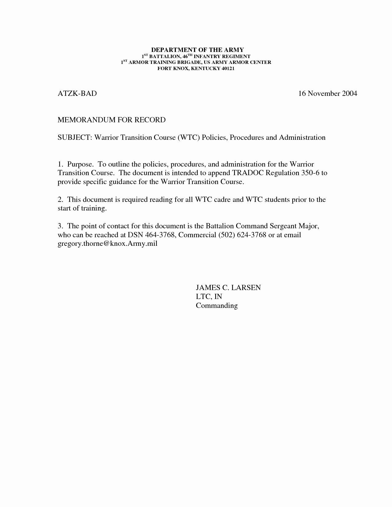 Memorandum Of Record Template Elegant L225 Wlc Bing Images