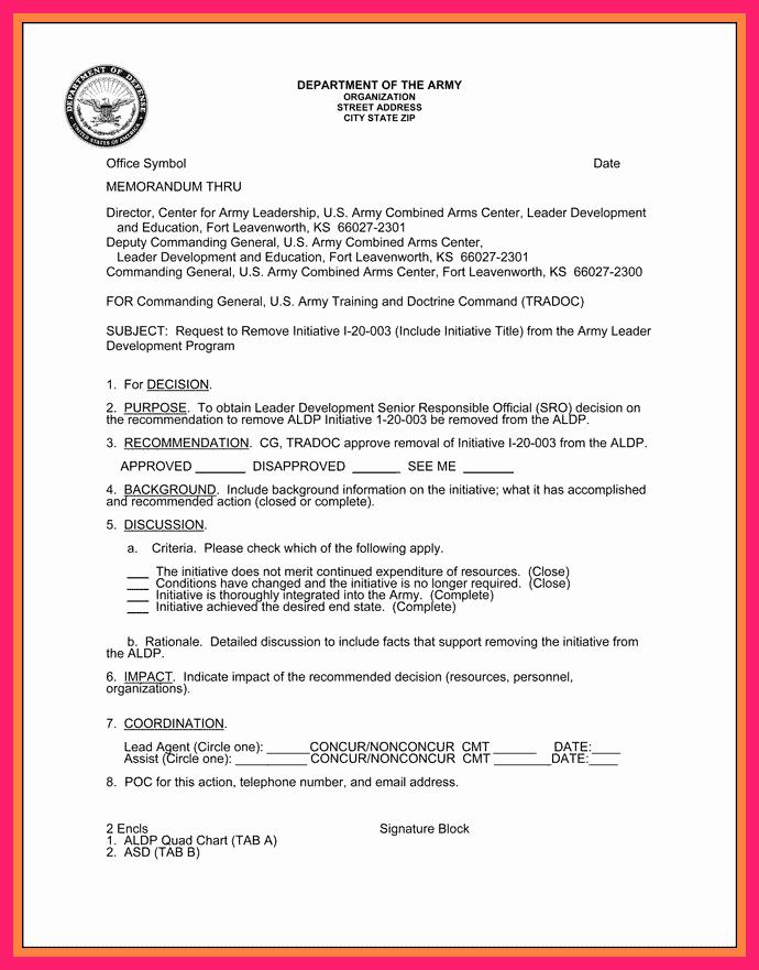 Memorandum Of Record Template Elegant Memorandum for Record Army